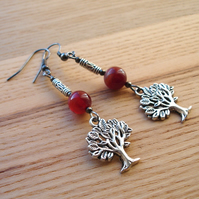 Agate Tree Charm Bead Earrings