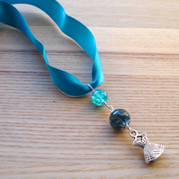 Teal Dress Ribbon Necklace