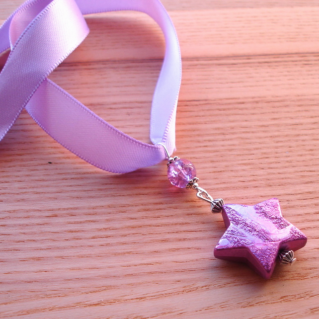 Purple Star Ribbon Necklace