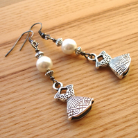 Wedding Dress Charm Bead Earrings