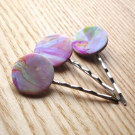3 Marbled FIMO Bobbie Pin Hair Slides