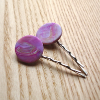 2 Marbled FIMO Bobbie Pin Hair Slides