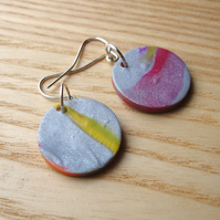 Marbled FIMO Disc Earrings