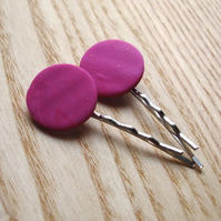 2 Pink FIMO Bobbie Pin Hair Slides