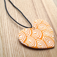 Huge Swirl Heart FIMO Polymer Clay Pendant