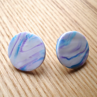 Marbled FIMO Disc Studs