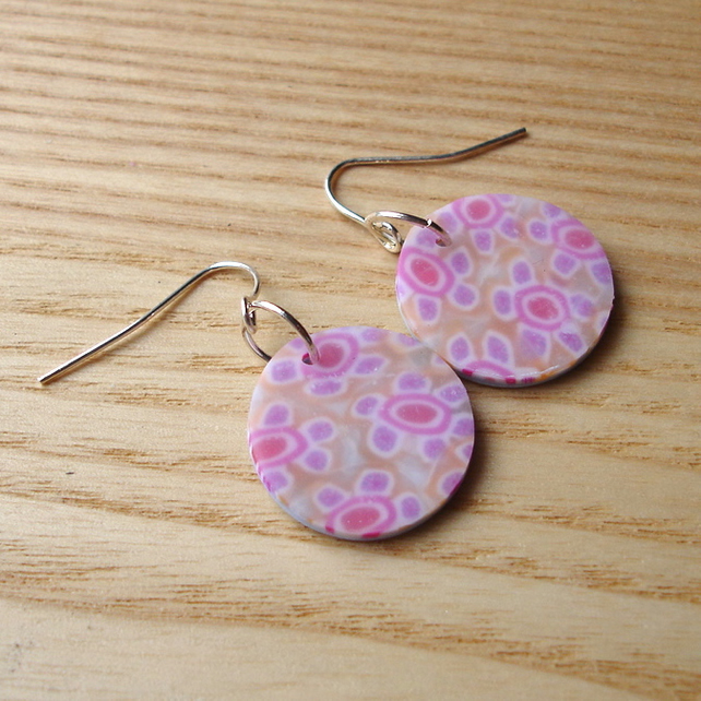 Patterned FIMO Disc Earrings