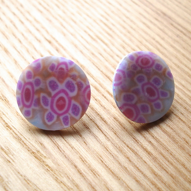 Patterned FIMO Disc Studs
