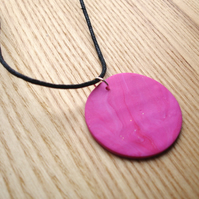 Hot Pink Disc FIMO Polymer Clay Pendant