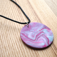 Marbled Disc FIMO Polymer Clay Pendant