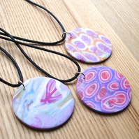 Patterned Disc FIMO Polymer Clay Pendant Three-Pack