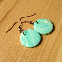 Buttermint Marbled FIMO Disc Earrings