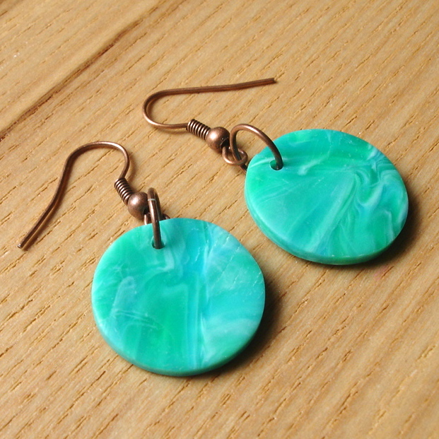Seaspray Marbled FIMO Disc Earrings