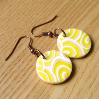 Lemon Swirl FIMO Disc Earrings