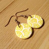 Lemon Ripple FIMO Disc Earrings