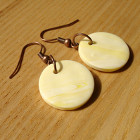 Vanilla Marbled FIMO Disc Earrings
