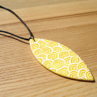 Lemon Ripple Millefiori Tribal Polymer Clay Pendant