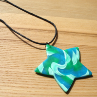 Swirl Star FIMO Polymer Clay Pendant