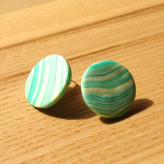 Buttermint Marble FIMO Disc Studs