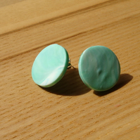 Mint Marble FIMO Disc Studs