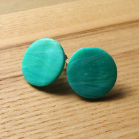 Seaspray Marble FIMO Disc Studs
