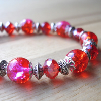 Red Sparkle Bead Bracelet