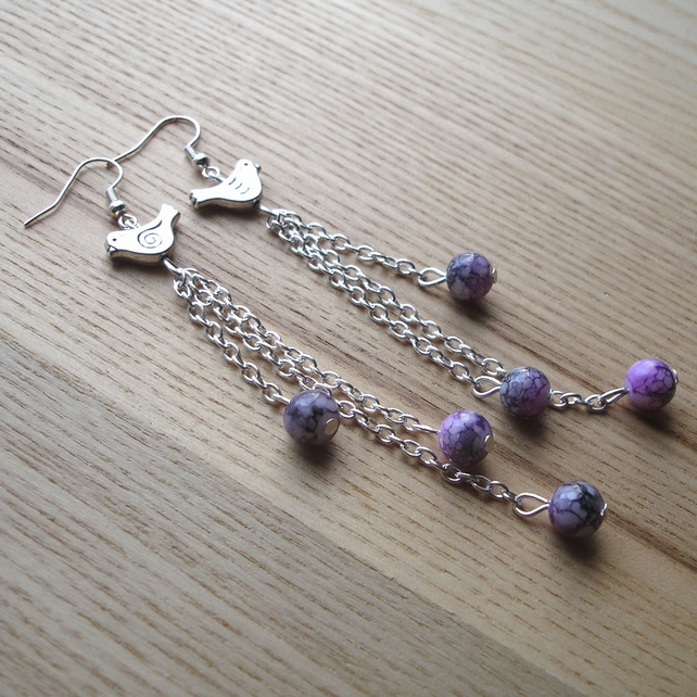 Bird and Purple Bead Cluster Earrings