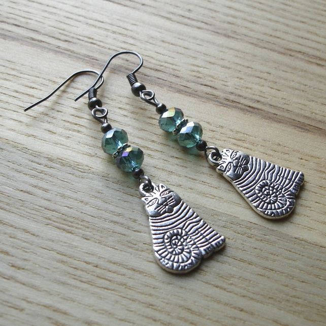 Teal Kitty Cat Earrings