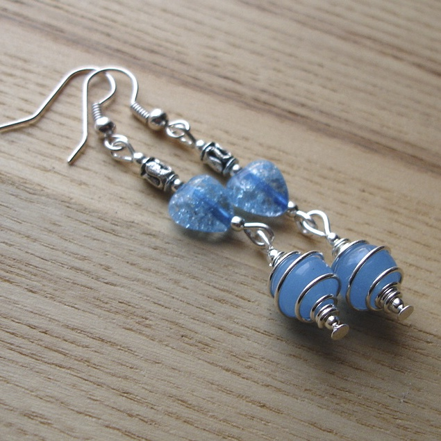 Turquoise Swirl Bead Earrings
