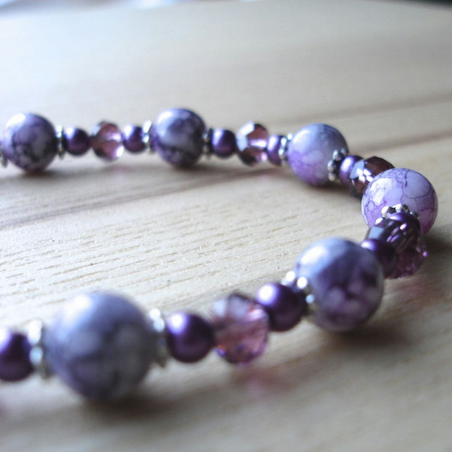 Purple Sparkle Bead Bracelet