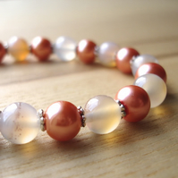 Quartz and Pearl Bead Bracelet Jewellery