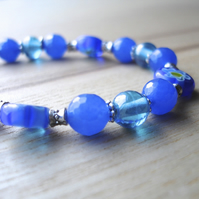 Blue Flowers Bead Bracelet
