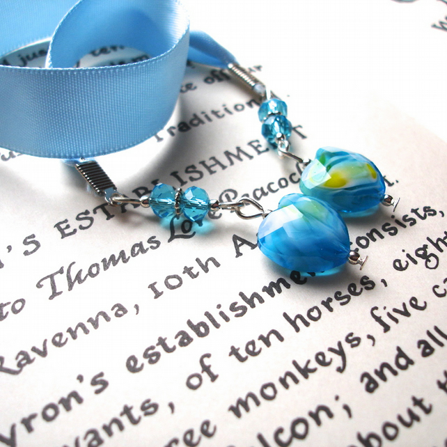 Turquoise Heart Bead Bookmark