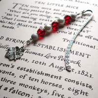 Red and White Dragonfly Bookmark