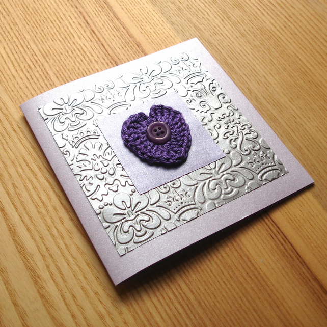 Purple and Silver Crochet Heart Greetings Card