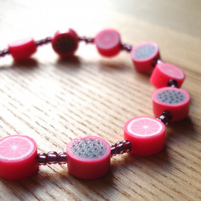 Pink Fruit Polymer Clay Bead Bracelet