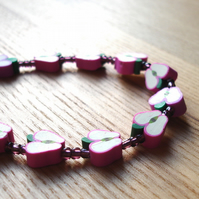 Apples Polymer Clay Bead Bracelet