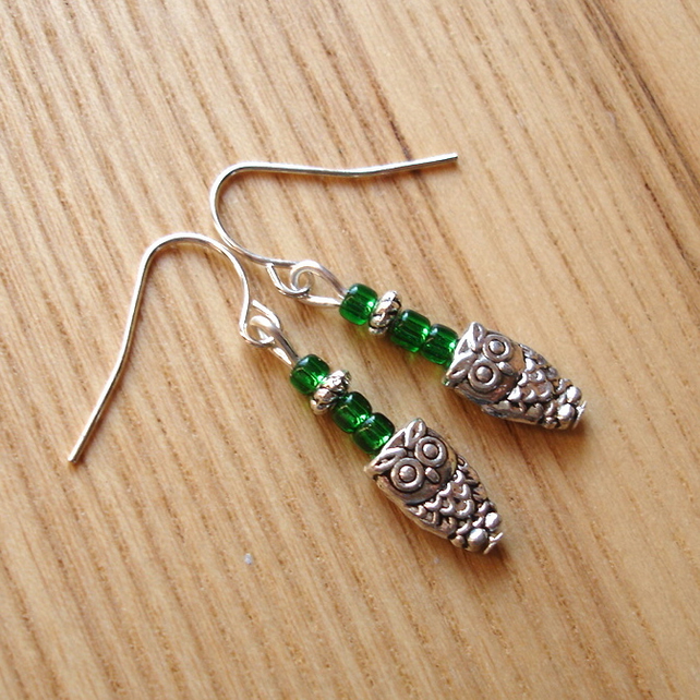 Teeny Owl Charm Earrings