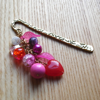 Pink Bead Cluster Bookmark