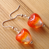 Orange Heart Bead Earrings
