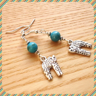 Turquoise Kitty Cat Earrings