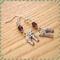 Purple Kitty Cat Earrings