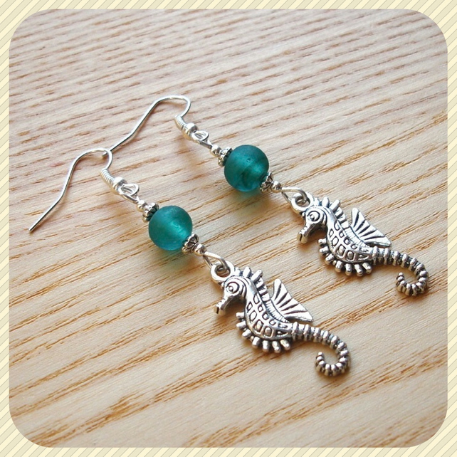 Turquoise Seahorse Earrings