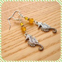Yellow Seahorse Earrings
