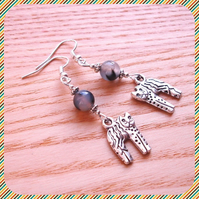 Grey Kitty Cat Earrings