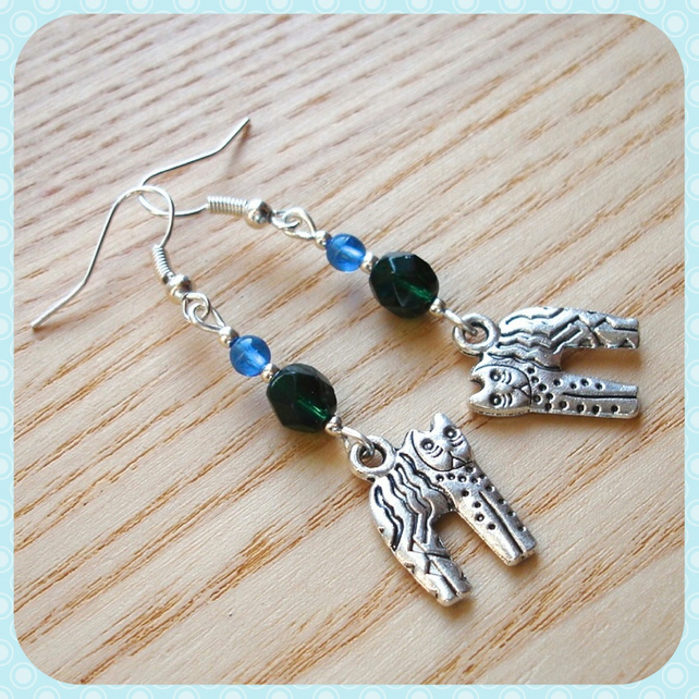 Blue Green Kitty Cat Earrings