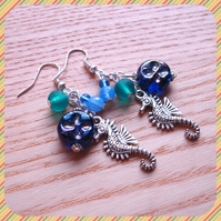 Seahorse and Bead Cluster Earrings
