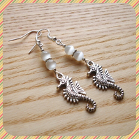 White Seahorse Earrings