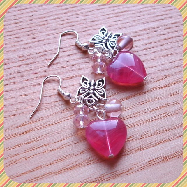 Butterfly and Heart Cluster Earrings