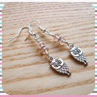 Pink Owl Charm Earrings